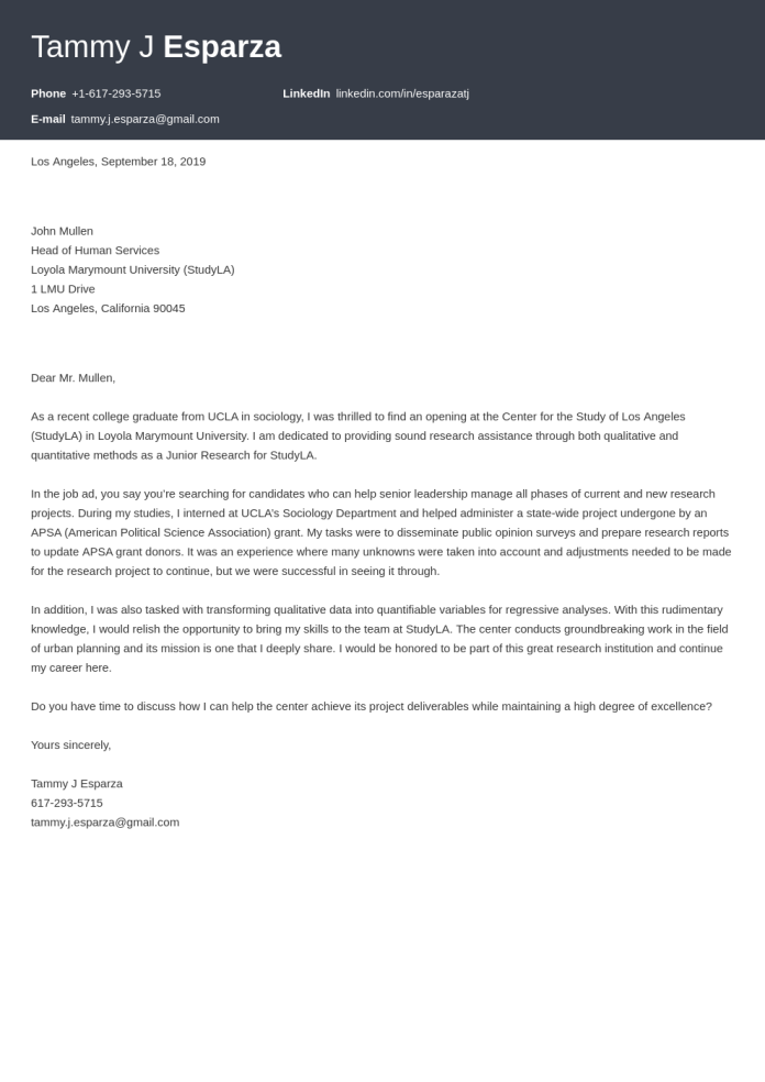 Research Assistant Cover Letter Examples Ready To Use Templates