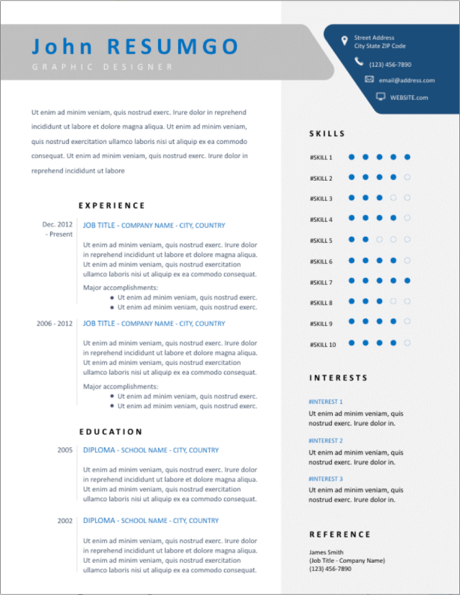 Free infographic resume templates (ms word) hloom. 50 Free Ms Word Resume Cv Templates To Download In 2021
