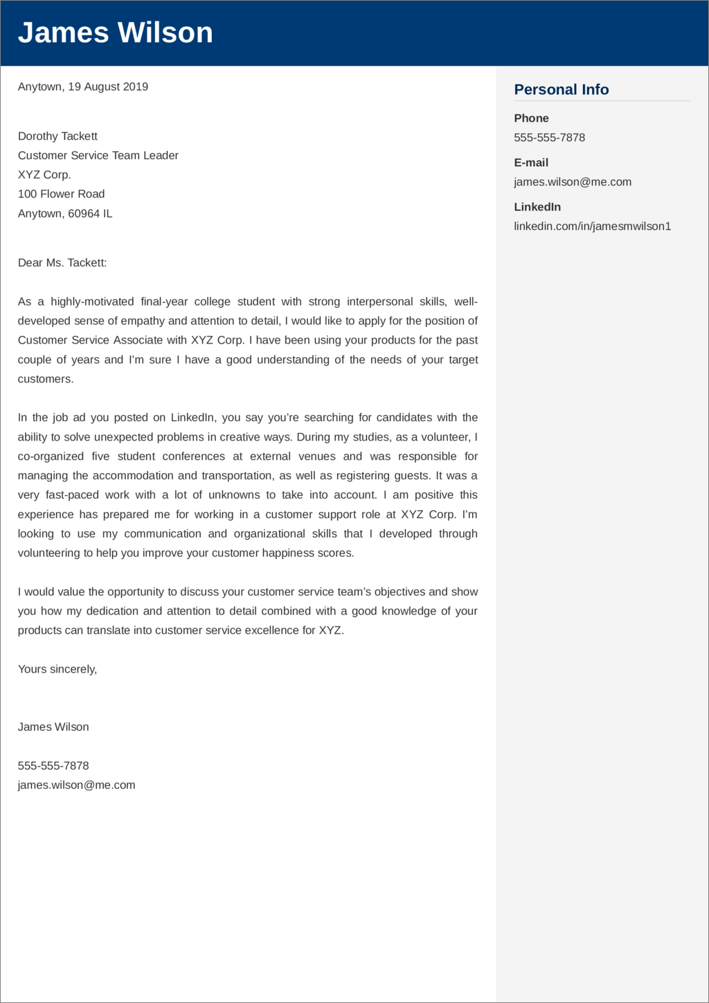 cover letter for customer service position