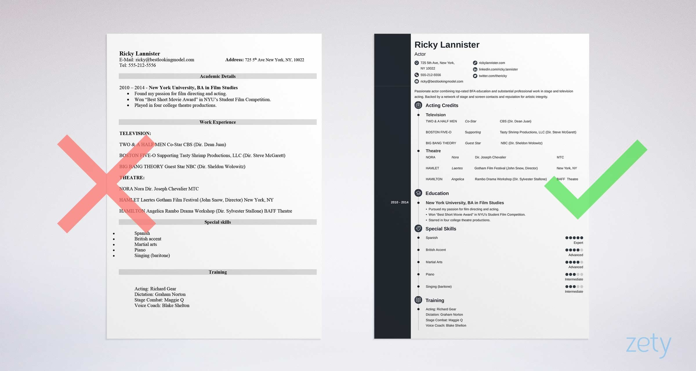 Acting Resume Template Sample & Actor Resume Advice 20