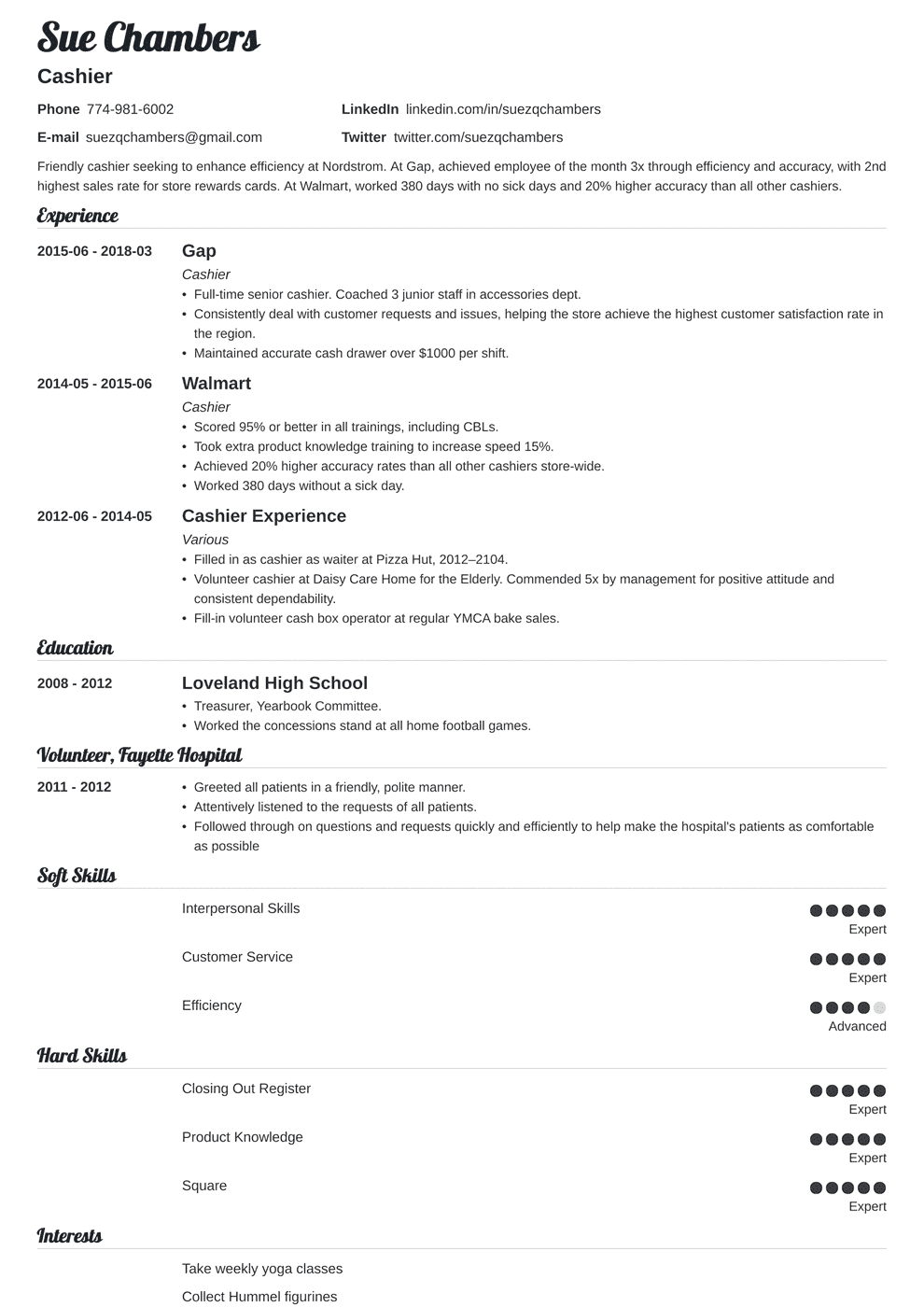 Cashier Resume Examples Cashier Resume Samples And Complete Writing Guide 20 Examples