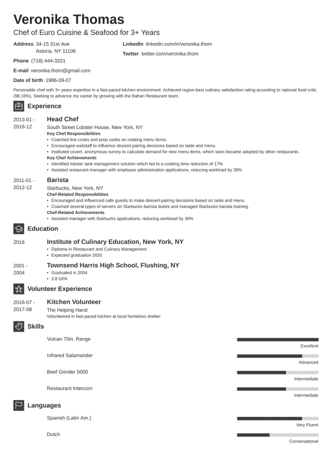 Chef Resume Examples Template