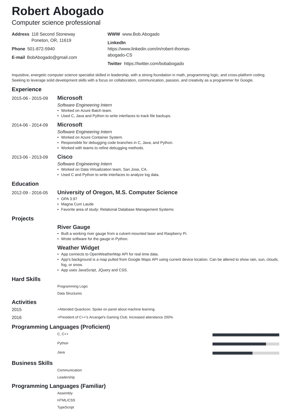 Add resume extras like projects, publications, and additional activities to make jaws drop. Computer Science Cs Resume Example Template Guide