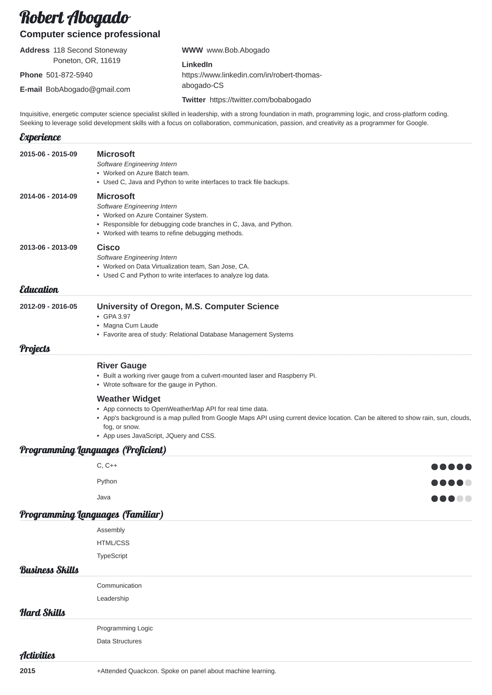 Build a new resume optimize your resume. Computer Science Cs Resume Example Template Guide