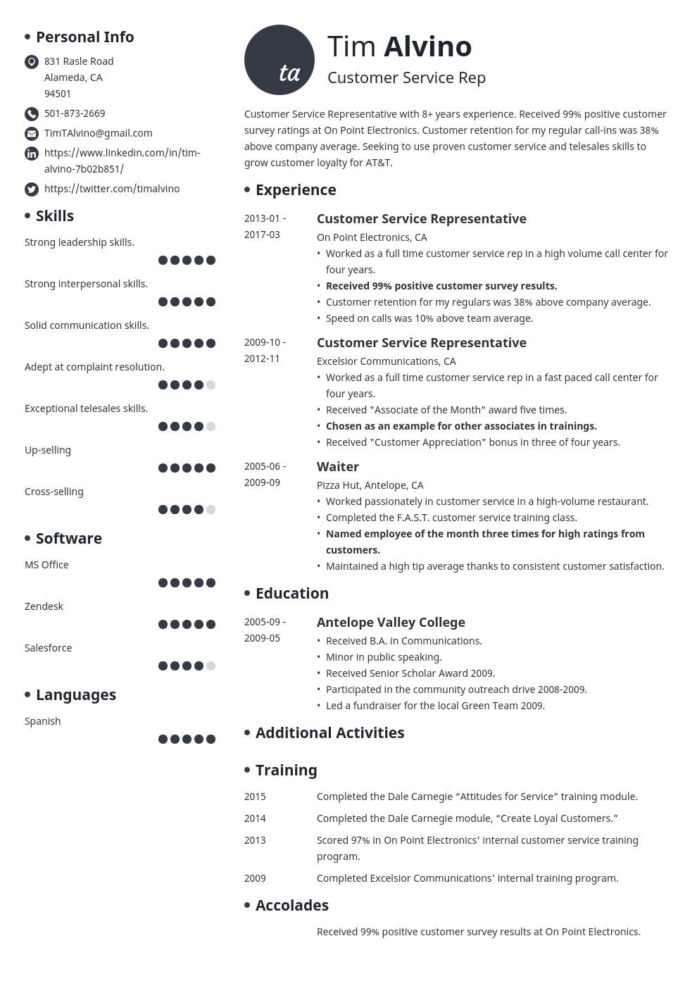 Resume Skills Examples For Customer Service Customer Service Resume Sample And Writing Guide 20 Examples