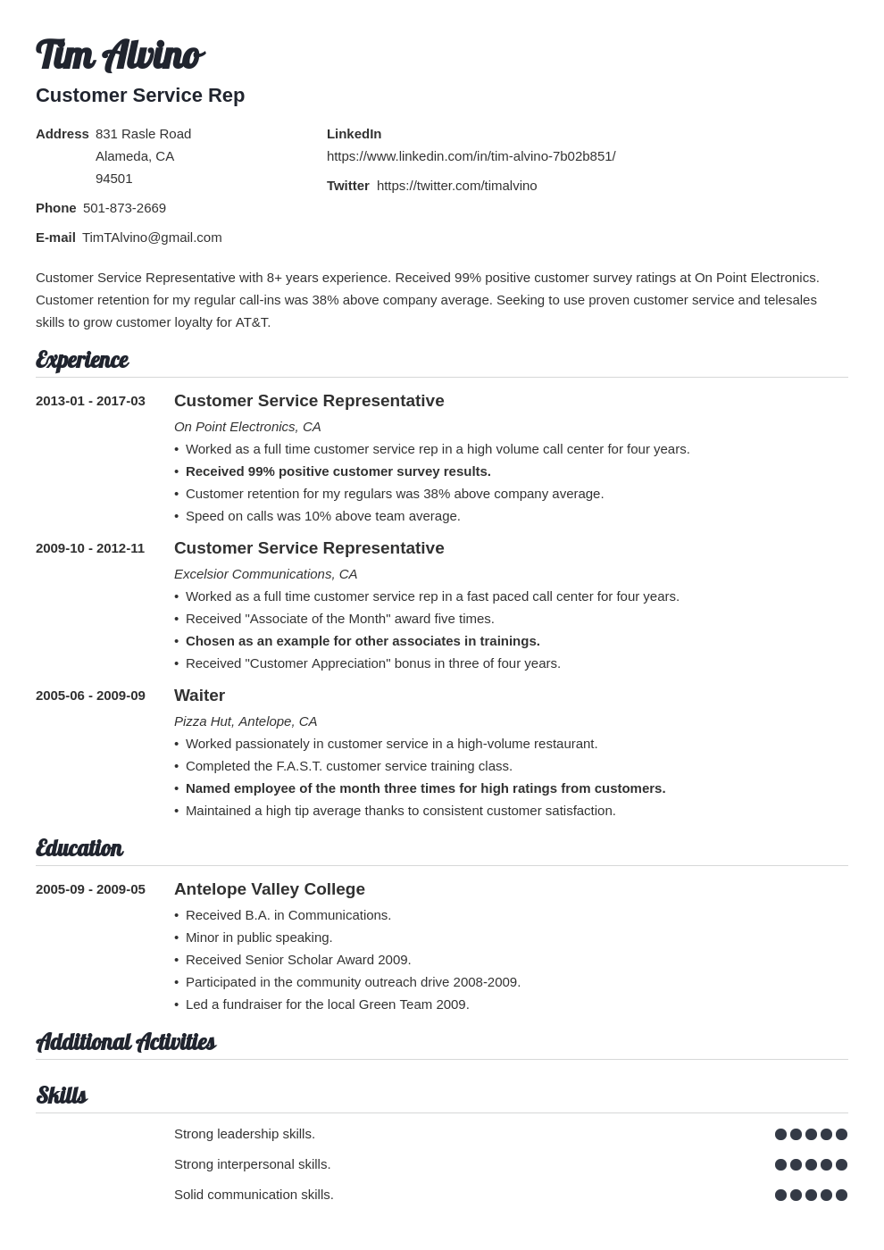The Resume Place Complaints Customer Service Resume Sample Complete Guide 20 Examples