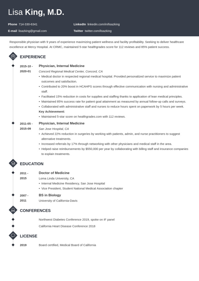 Medical Doctor Resume Examples & Tips (+ MD CV Template)