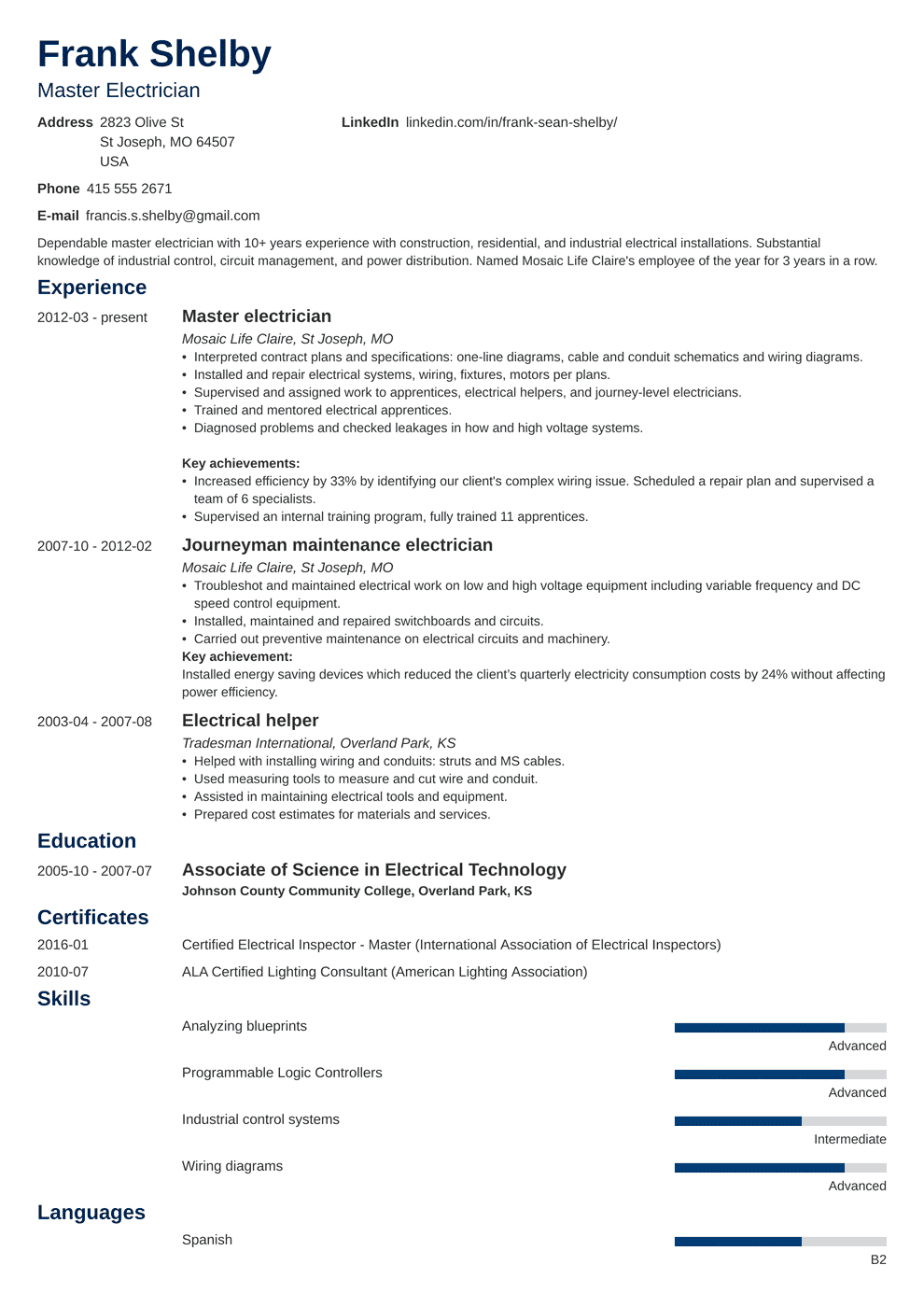 Lighting Engineer Sample Resume Electrician Resume Sample Complete Guide 20 Examples