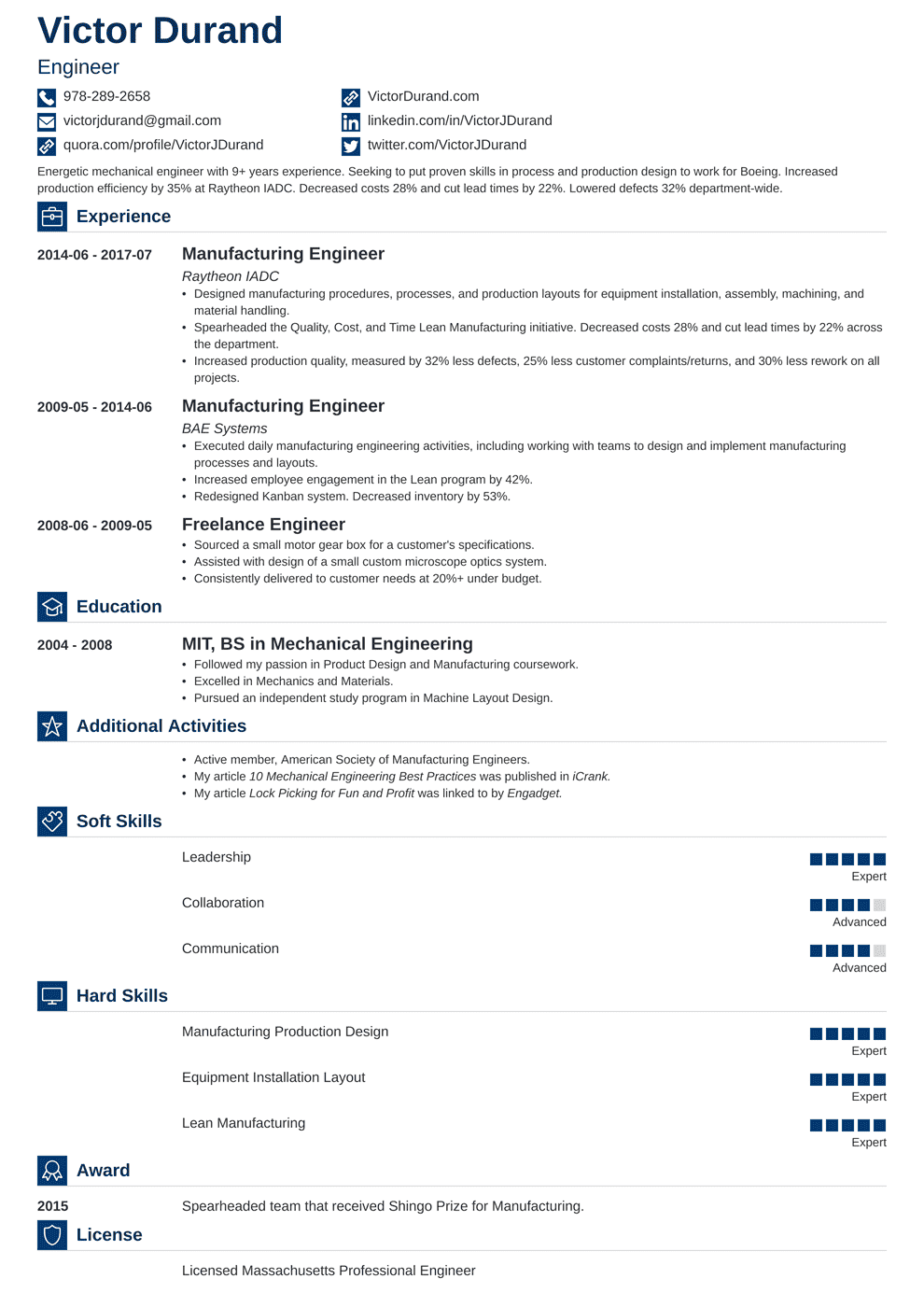 Engineering Resume Builder Engineering Resume Sample And Complete Guide 20 Examples