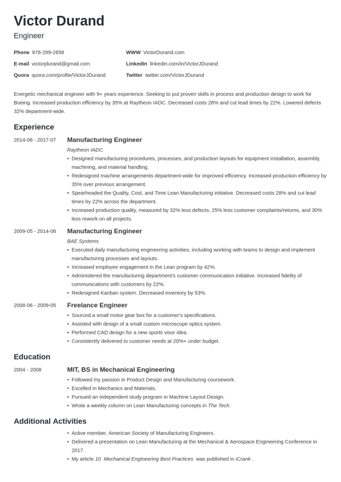 Engineering Resume Templates Examples