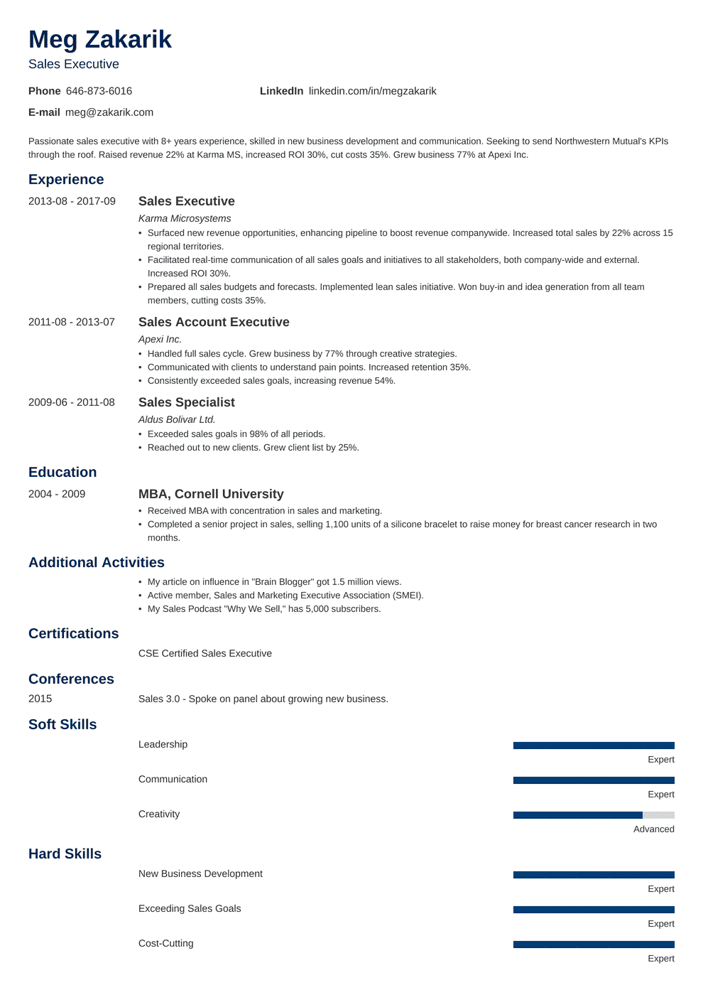 Clear Channel Account Executive Cover Letter Executive Resume Sample And Complete Guide 20 Examples