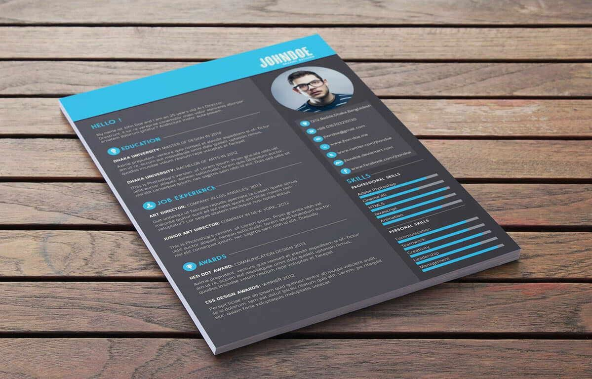 Dark Free Modern Resume Template With Blue Elements. ""