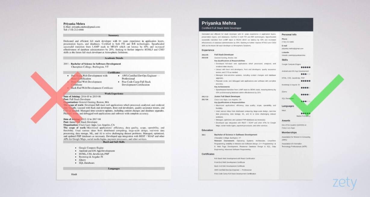 full stack developer resume sample