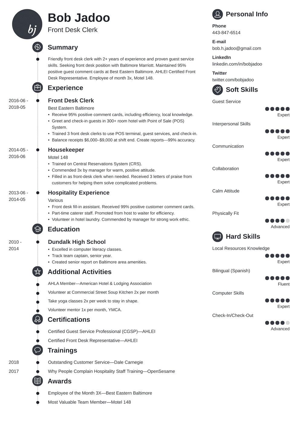 Hotel Resume Example Hospitality Resume Sample And Full Writing Guide 20 Examples