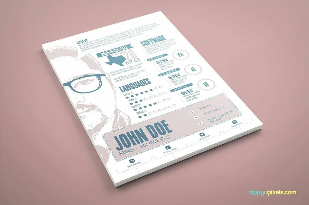 Info Graphic Resume With Big Posterized Picture