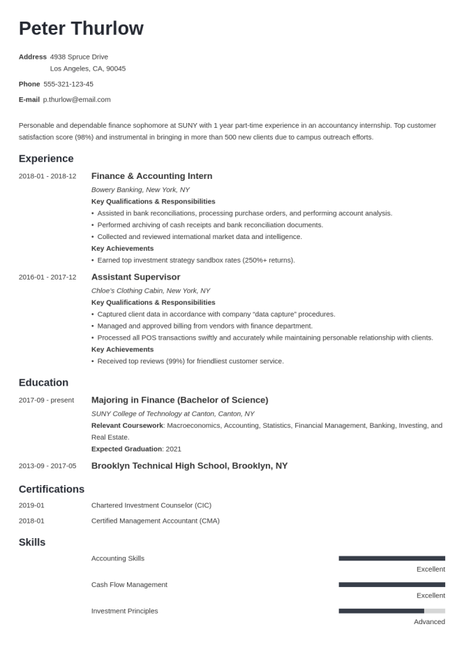 Resume For Internship Template Guide