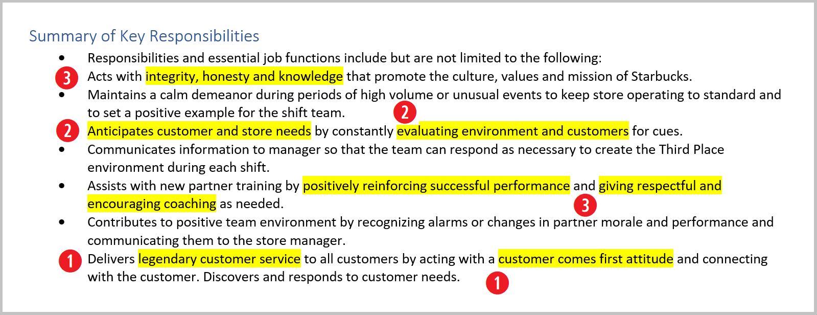 Job Description For Starbucks Resume For Baristas
