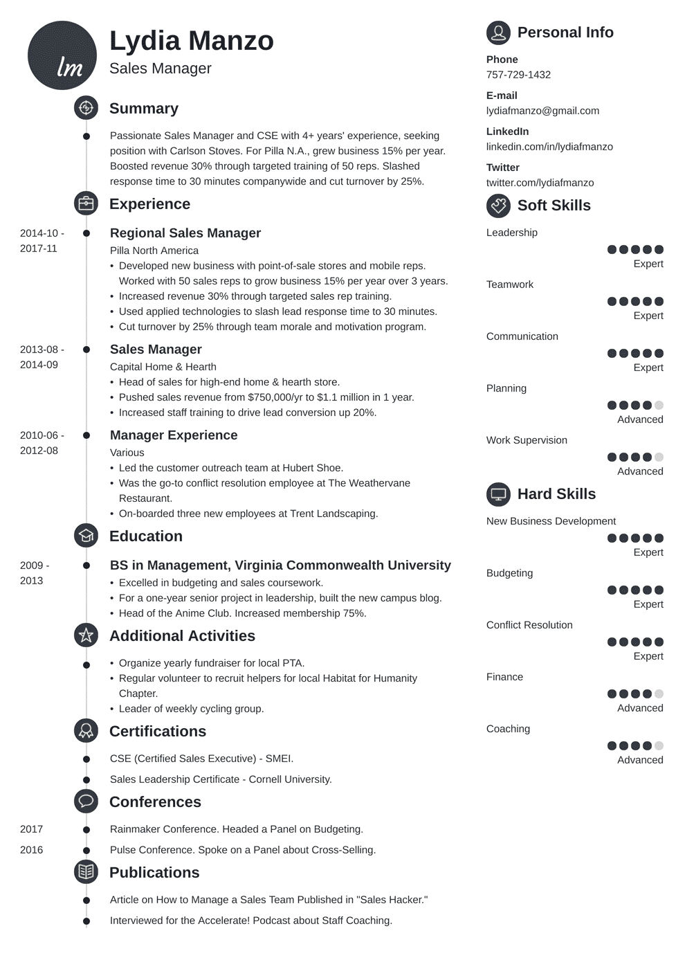 Manager Resume Template Manager Resume Sample And Complete Guide 20 Examples