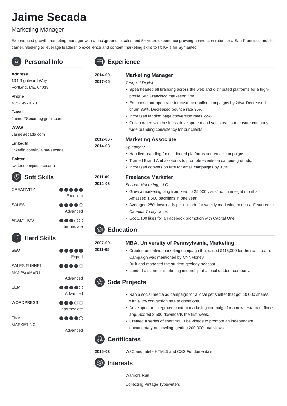 Marketing Manager Resume Examples (Template & Guide)