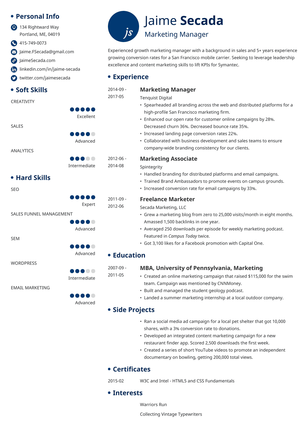 Experience In Marketing Resume Marketing Resume Sample Complete Guide 20 Examples