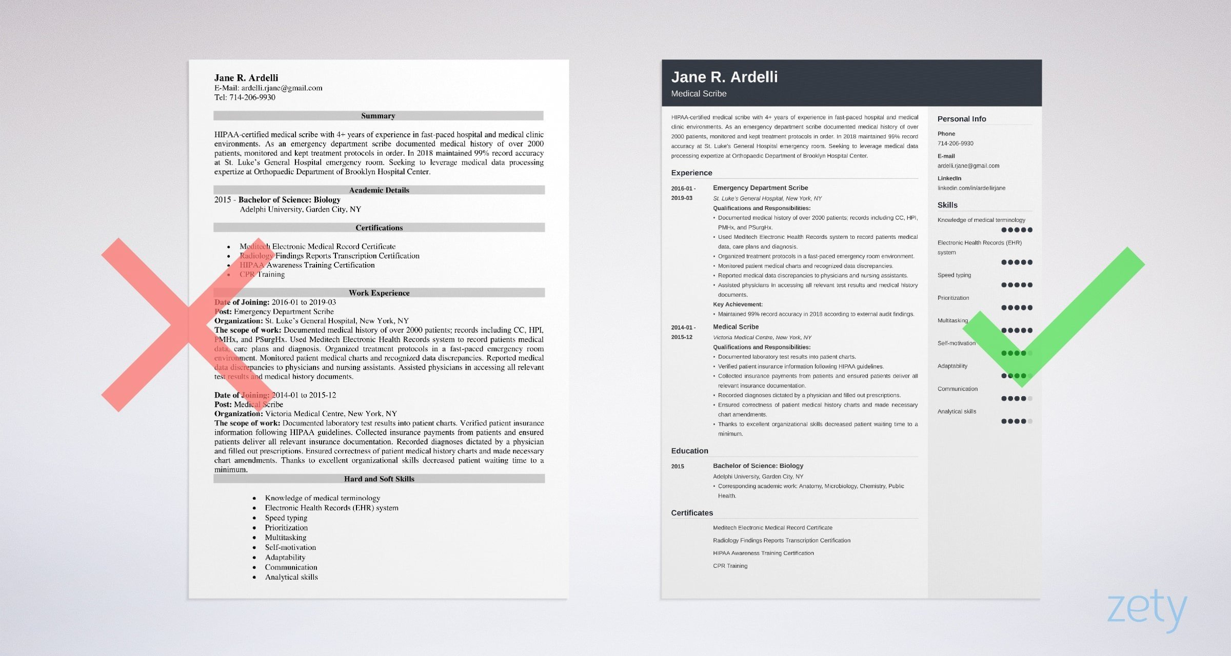 medical scribe resume examples