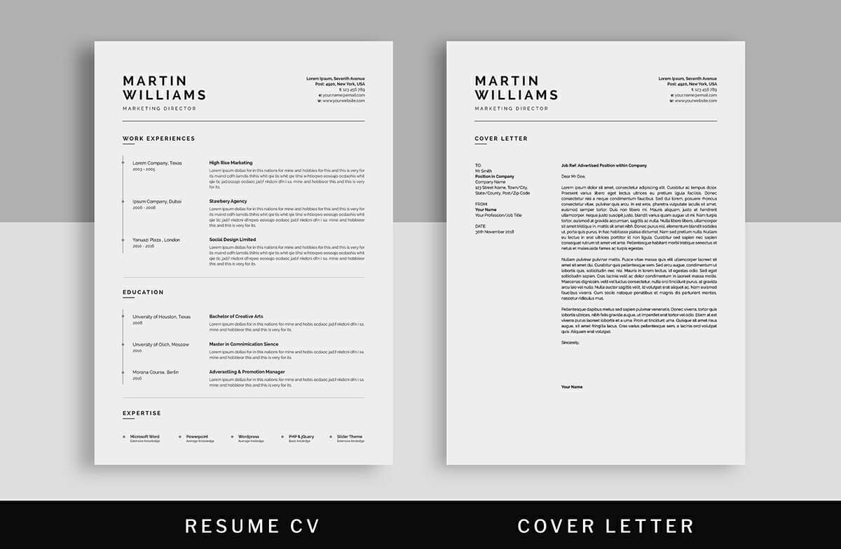 clean simple resume template one column