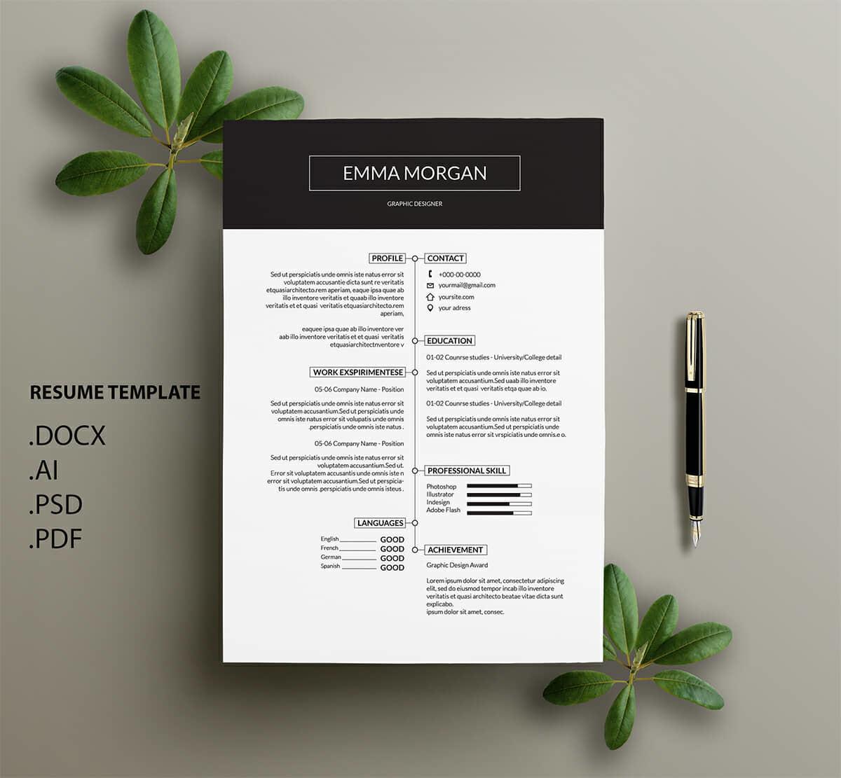 Download minimalist resume template word graphic templates by richard_2010. 15 Clean Minimalist Resume Templates Sleek Design