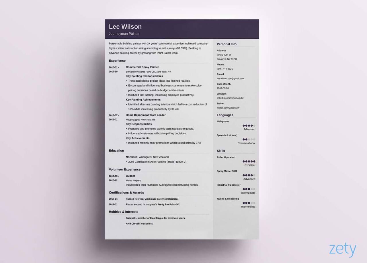 resume header styles