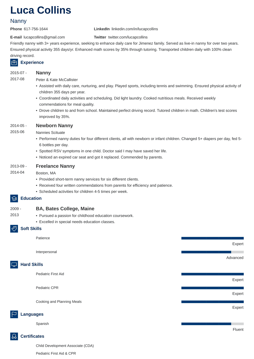 Child Resume Nanny Resume Sample And Complete Guide 20 Examples