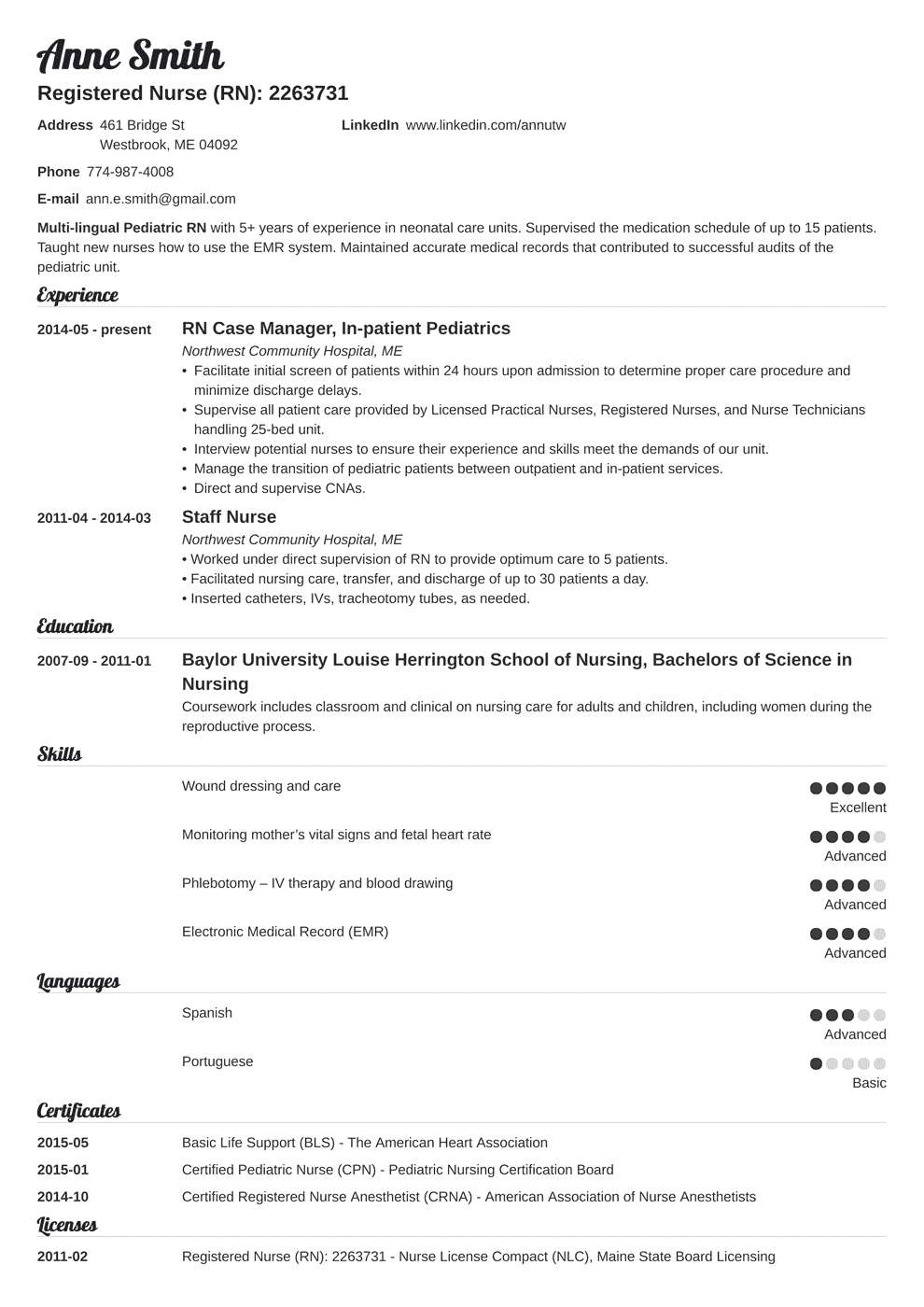 Professional Nursing Resume Template Nursing Resume Template Guide Examples Of Experience Skills