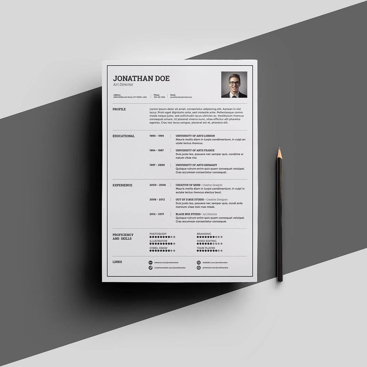 """Best One Page Resume With Photo. """""""
