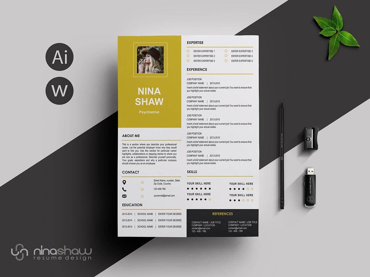 One Page Resume Sample With Gold Elements
