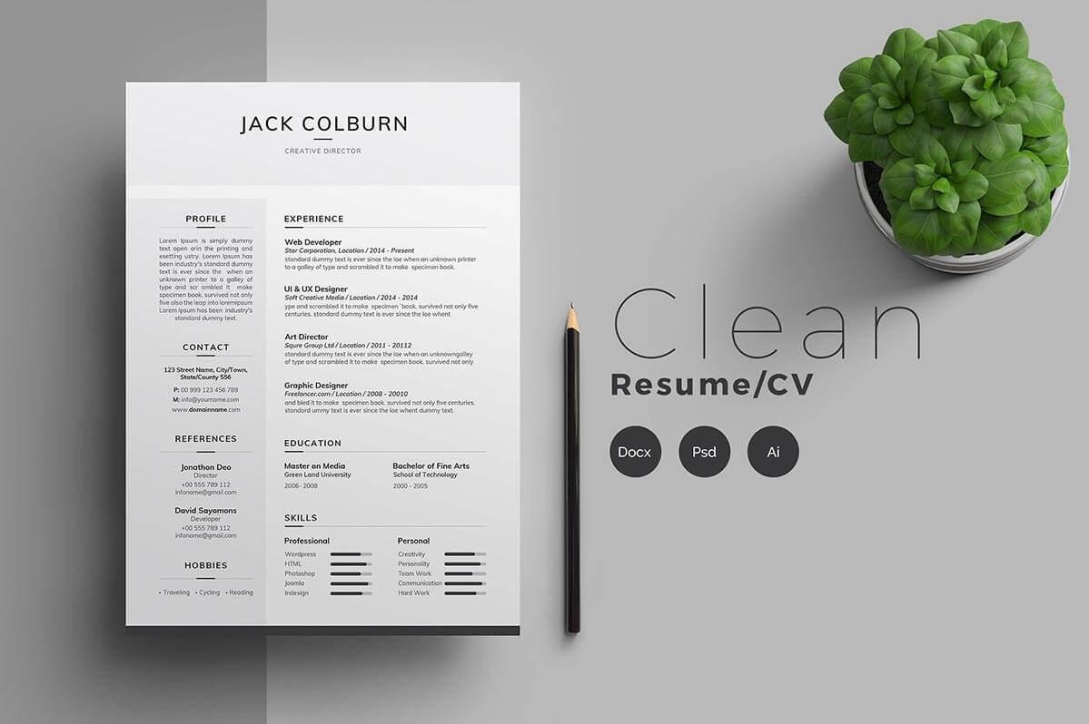 Simple One Page Resume In Shades Of Gray