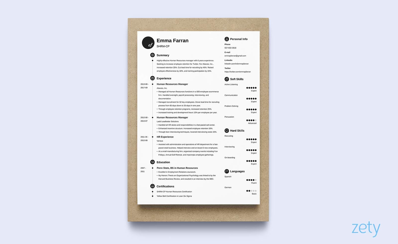 Resume Format Doc 1 Page