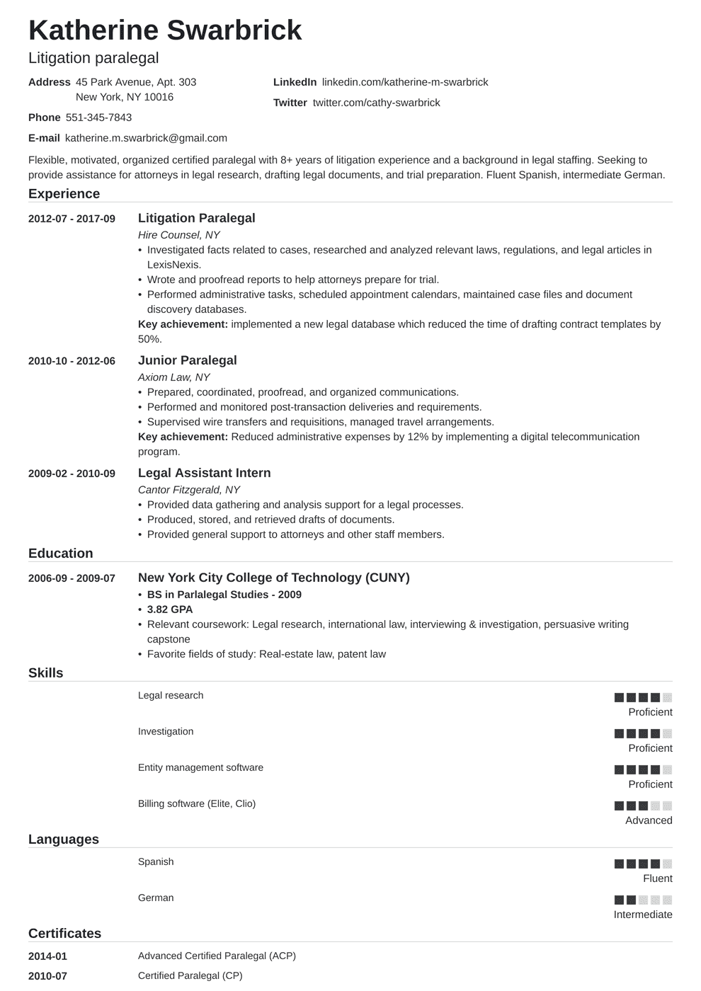Paralegal Resume Objective Paralegal Resume Sample And Complete Guide 20 Examples
