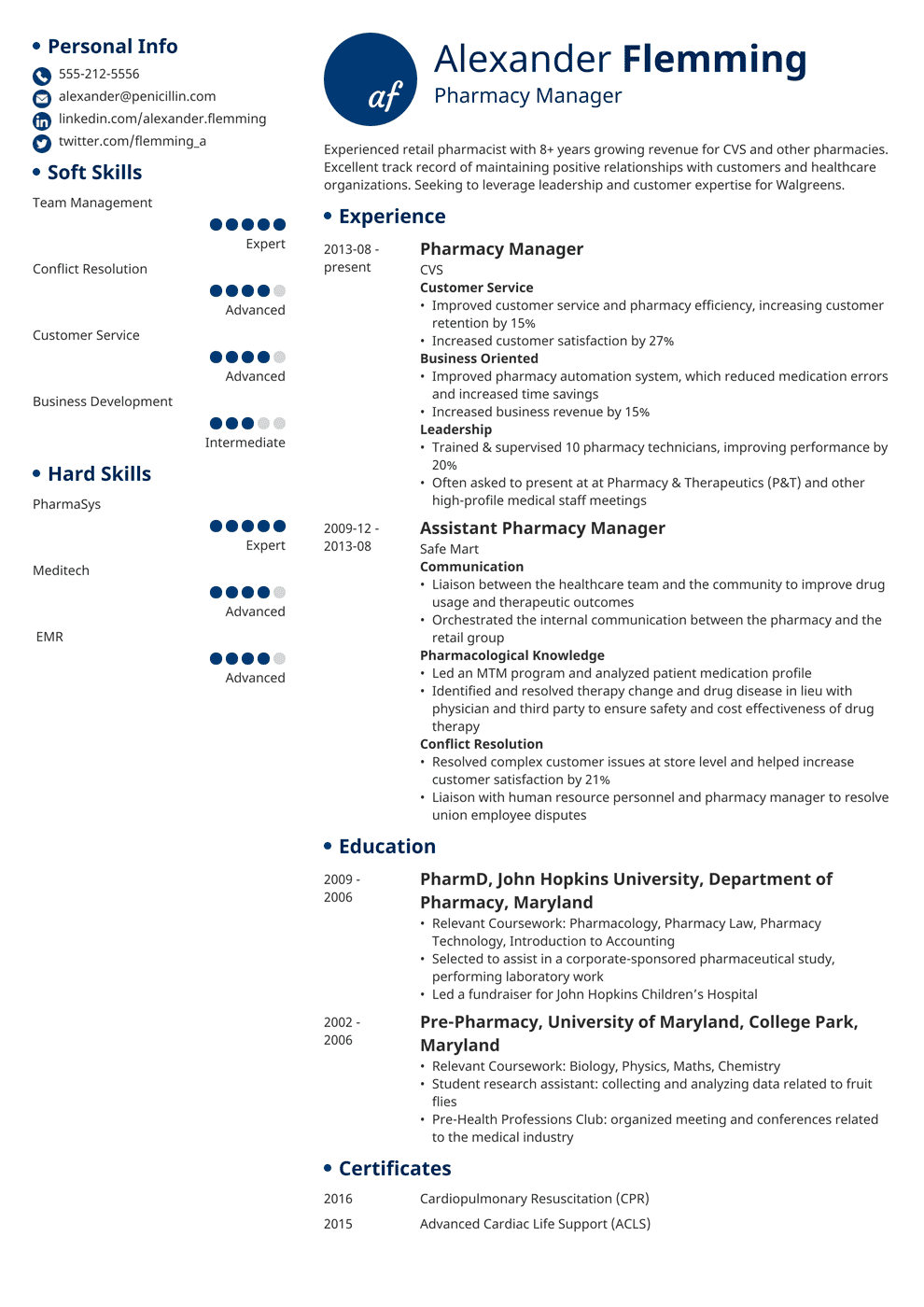 Cvs Pharmacy Resume Pharmacist Resume Sample Complete Guide 20 Examples