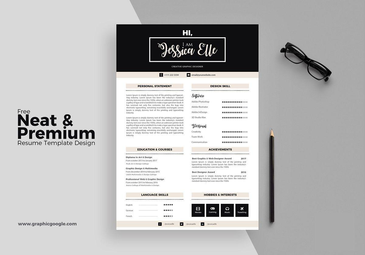 illustrator resume templates black white