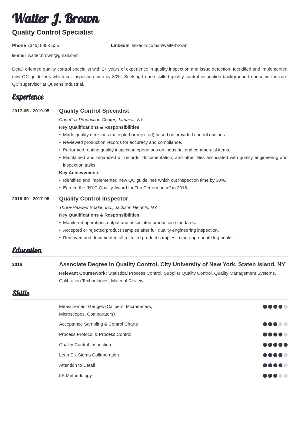 Click the fields and add your data. Quality Control Resume Examples Job Description Skills