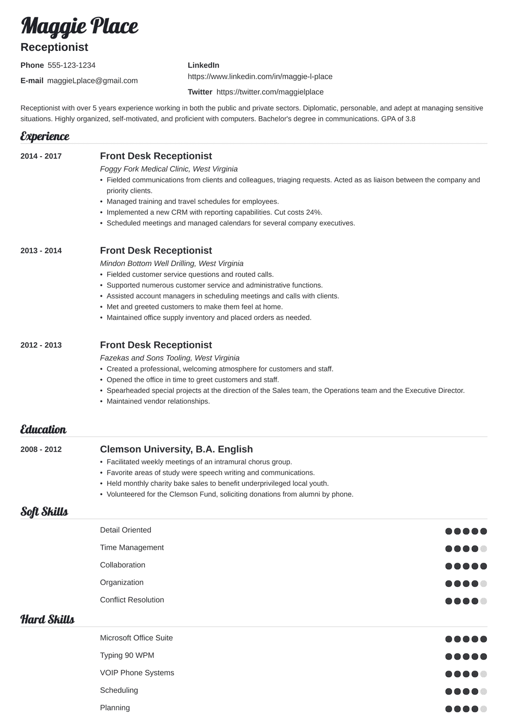 Objective For Receptionist Resume Receptionist Resume Sample And Writing Guide 20 Examples