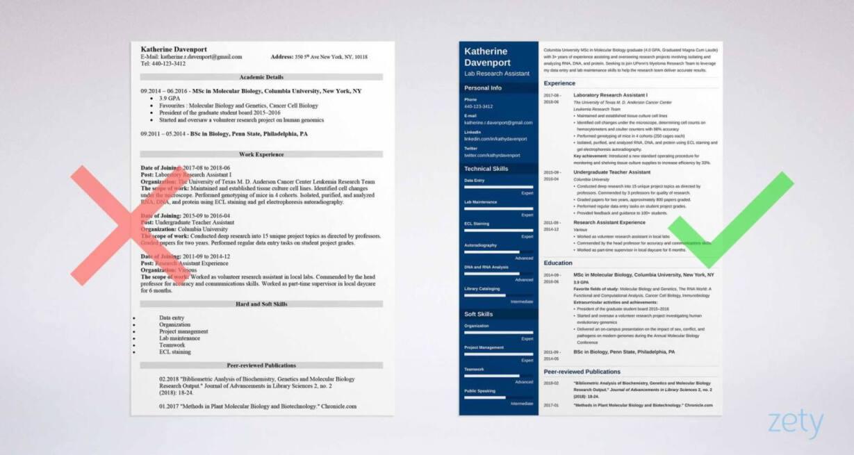 columbia sample resume