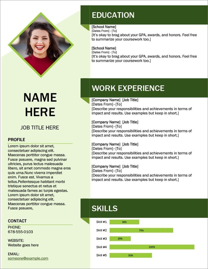 fixing the formatting of the green cube resume template