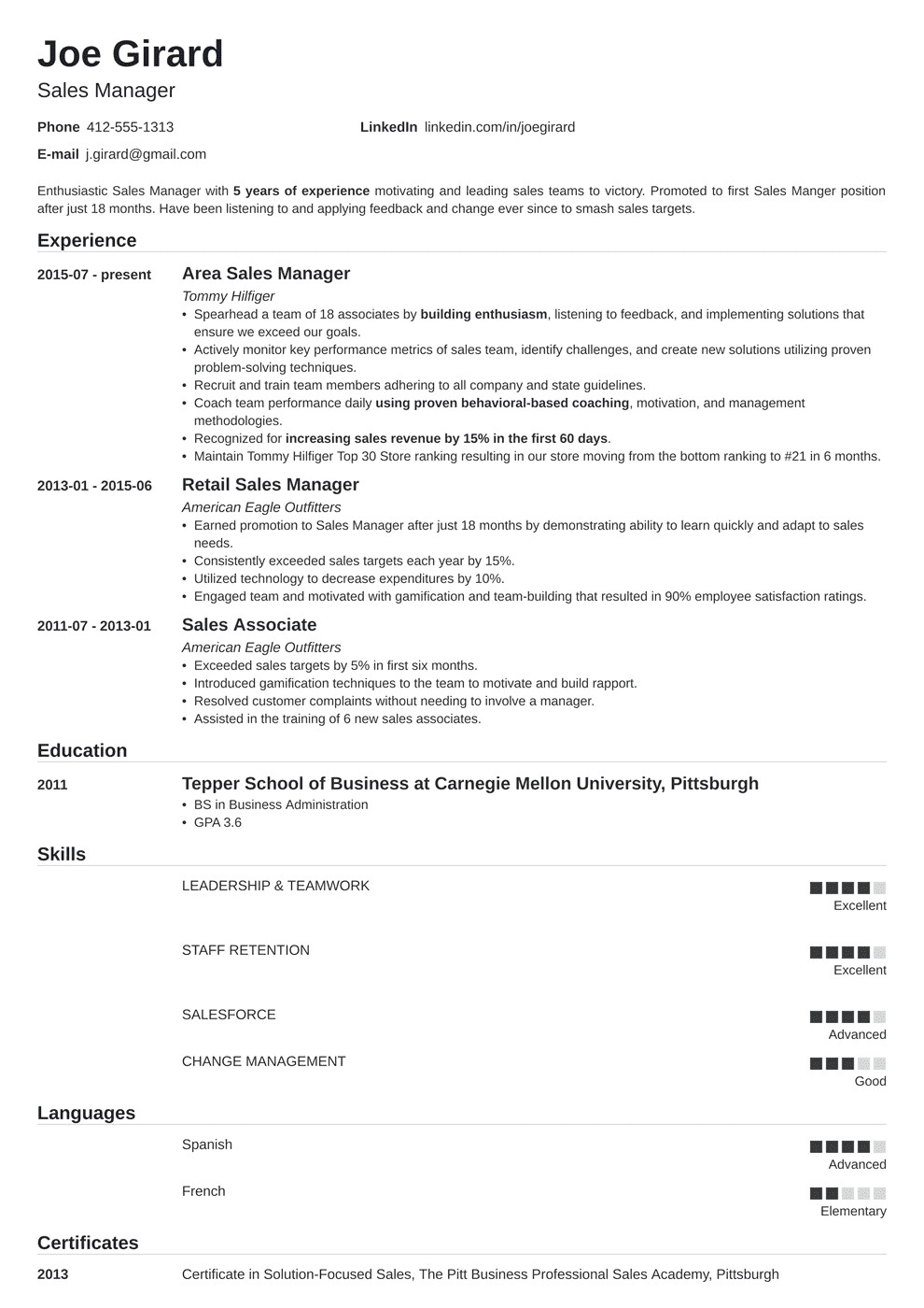 Manager Resume Template Sales Manager Resume Example Complete Guide 20 Examples