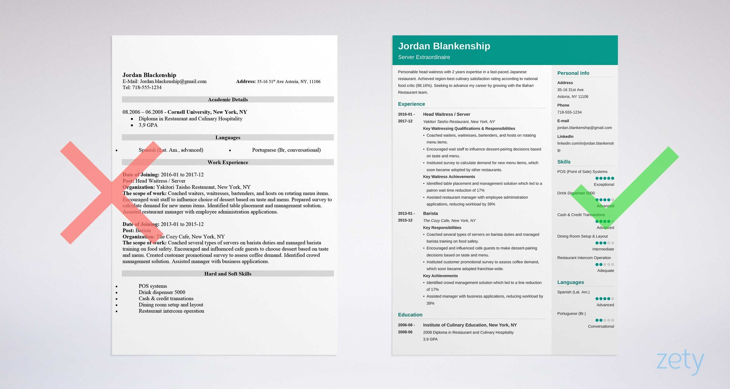 Food Service Resume Sample & Writing Guide 20 Examples