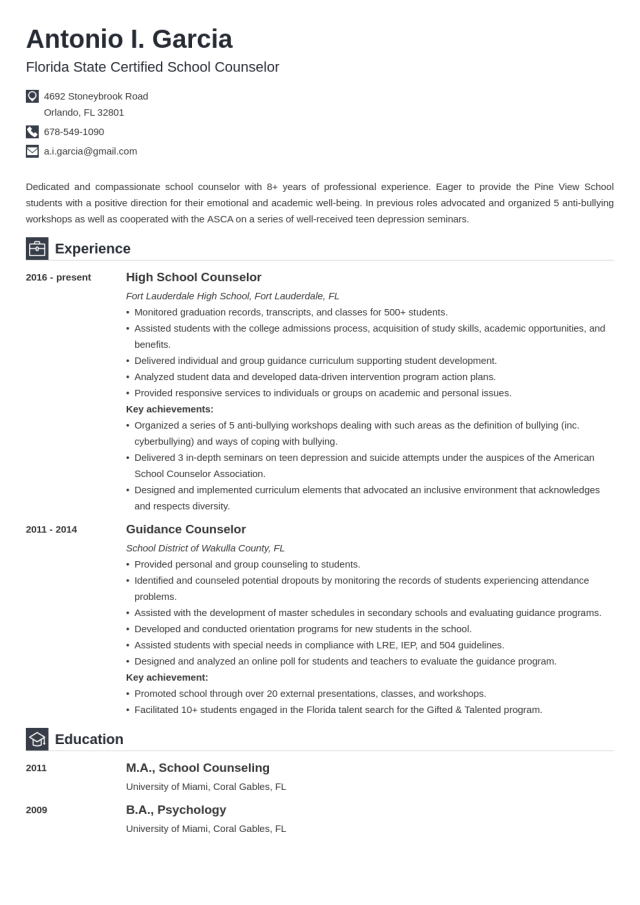 School Counselor Resume Sample, Job Description, Skills