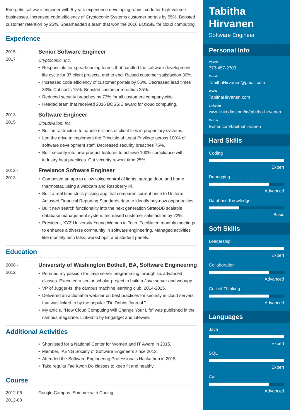 Software Professional Resume Samples Software Engineer Resume Guide And A Sample 20 Examples