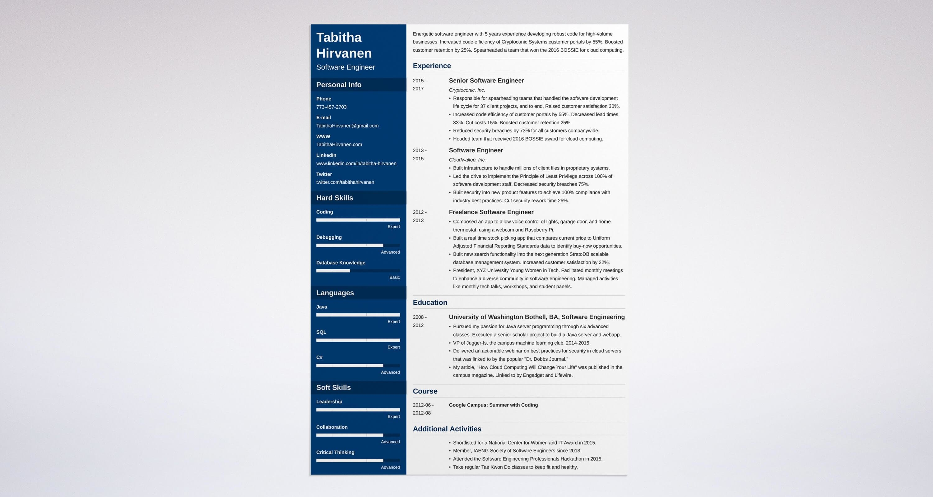 Sample Experienced Resume Software Engineer Software Engineer Resume Guide And A Sample 20 Examples