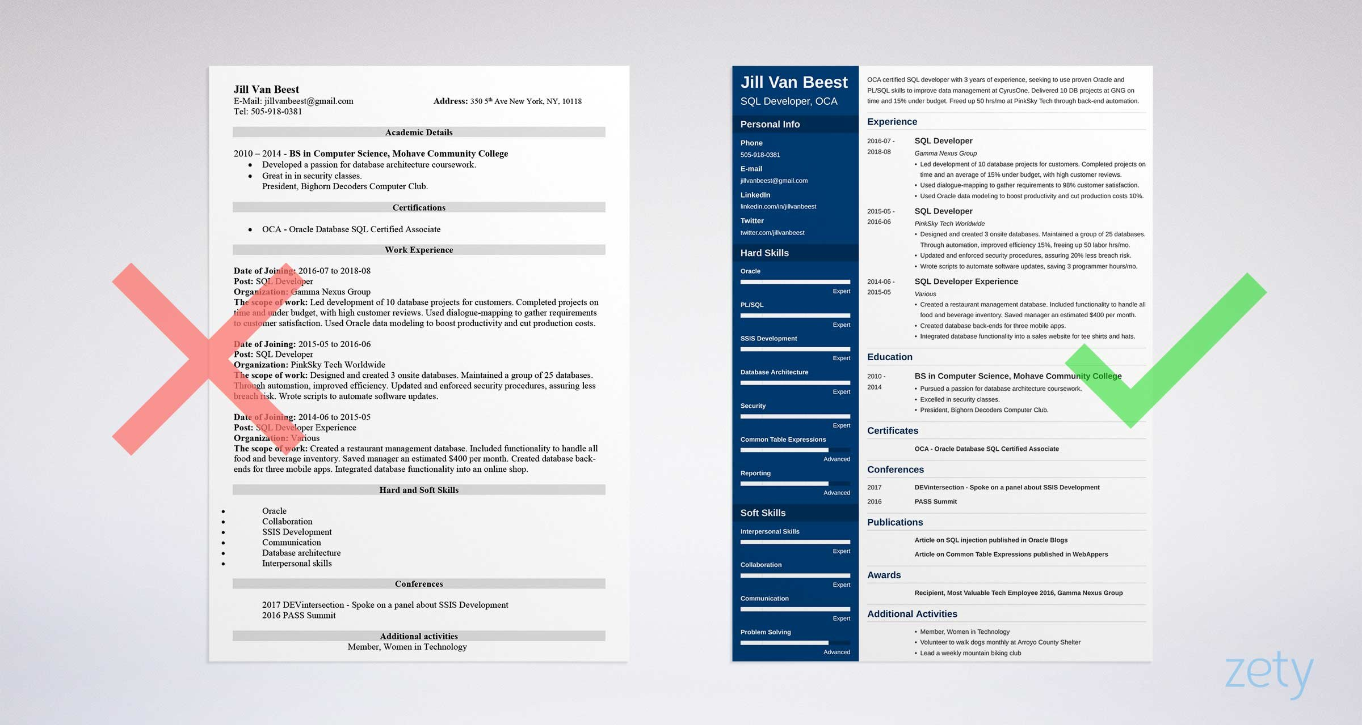 resume template for sql developer