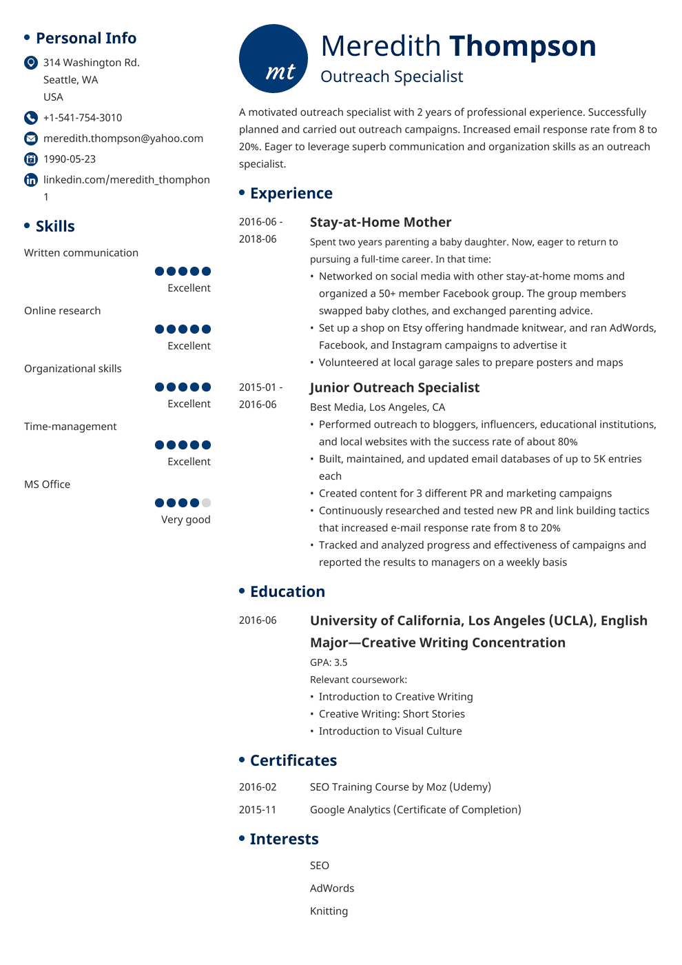 Homemaker Resume Sample Stay At Home Mom Resume Sample And Writing Guide 20 Examples