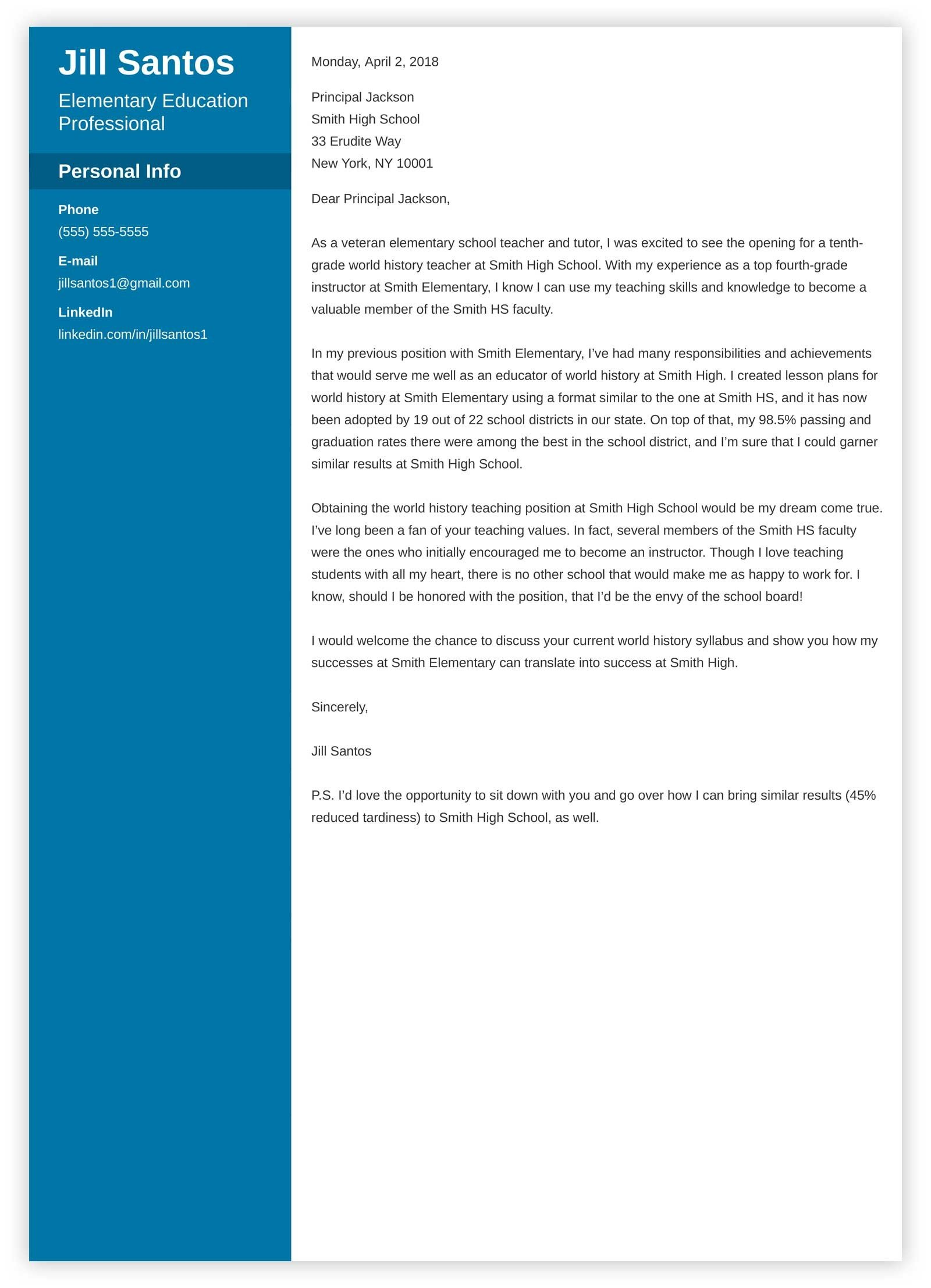 Teacher Cover Letter Sample  Complete Writing Guide 20 Examples