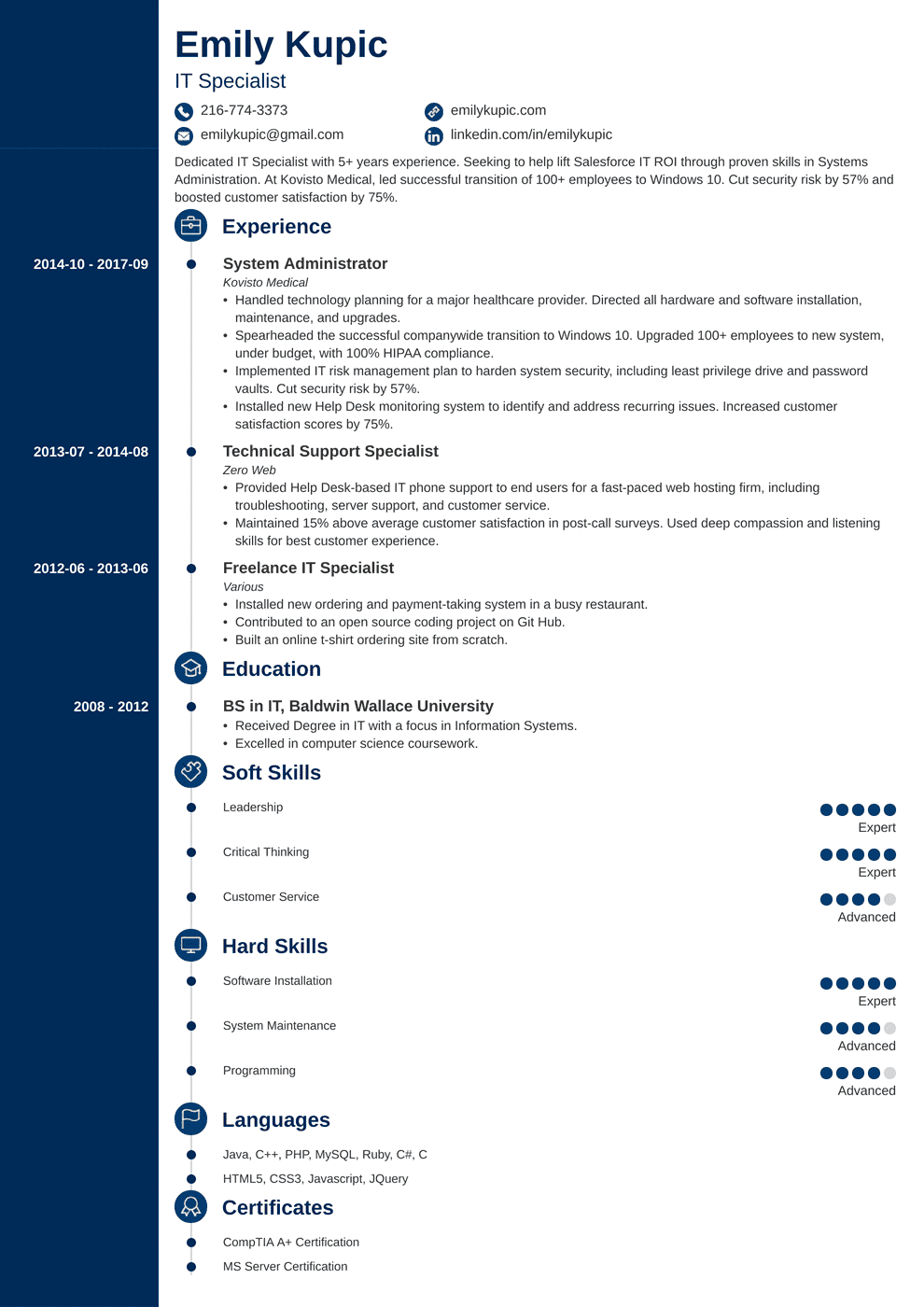 Soft Skills For Resume Technical Resume Sample And Complete Guide 20 Examples